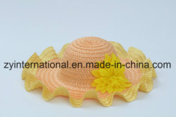 Customized Straw-Woven Hat with Flower Decoration