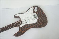 OEM Wholesale Solid Zebrawood Body Strato Type Electric Guitar