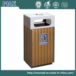 Outdoor Iron WPC Recycling Waste Bin Wooden Body Dust Can