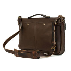 Good Quality Customer Design Brown Genuine Leather Bike Sport Messenger Bag