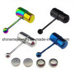 Vibrating Tongue Rings Stainless Steel Body Piercing Jewelry