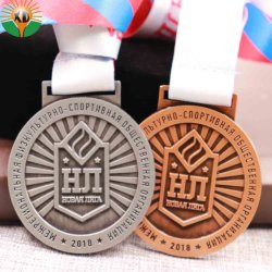 Custom Souvenir Casting Marathon Sports 3D Gold Metal Award Medal with Ribbon