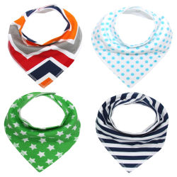 Promotional Gift Wholesale Eco-Friendly Customized Cheap Baby Wear Cotton Bandana Baby Bibs