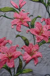 Flower Pattern Embroidery Fabric for Lady's Dressing and Home Textile