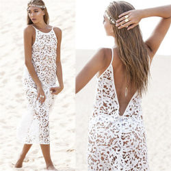 bd07073737e Western Style Sexy White Lace Maxi Beach Party Dress (50150)