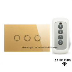 Us Standard 3 Gang 1 Way Remote Control Light Switch, RF433 Remote Touch Light Switch, Wall Light Touch Screen Switch