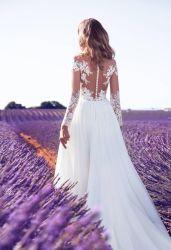 2018 Beach Wedding Dress Split Lace Chiffon Real Photos Boho Bridal Gowns Lb184