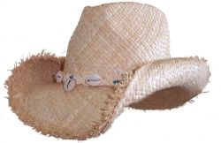 Shapeable Raffia Frayed Edge with Shells Hat (H1224)