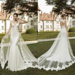 c43fdda2e6e Cap Sleeves Panel Train Bridal Dress 2018 Lace Mermaid Wedding Gown LV1758