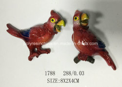 Polyresin Pen with Shiny Colors Green Parrot