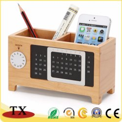 Creative Maple Wooden Desktop Stationery Storage Box Desk Calendar