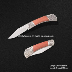 Mini Folding Knife with Wooden Handle (#3842)