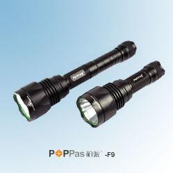 Waterproof Ipx7 CREE T6 Brightest Aluminum Tactical LED Flashlight (POPPAS-F9)