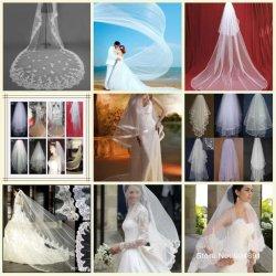 Bridal Wedding Veil Short Cathedral Long Veils Mantilla White Ivory Veil Hand Made Beading Lace Edge Hair Pieces Custom Bridal Velis