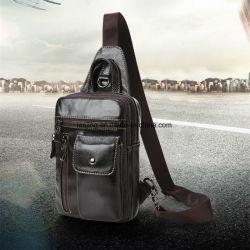 Lj1-016 Cattlehide Multi-Functional Sport Crossbody Men's Shoulder-Bag Genuine Leather Bag