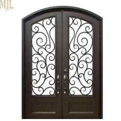 Exterior Arched Wrought Iron Entry Doors with Tempered Glass  sc 1 st  Made-in-China.com & China Wrought Iron Door Wrought Iron Door Manufacturers Suppliers ...