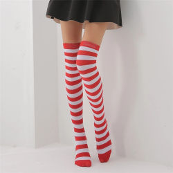 ebb38dab7317f Wholesale Sexy Girl Red and White Striped Cotton Over Knee Socks Fashion  Stockings Cheap Thigh High