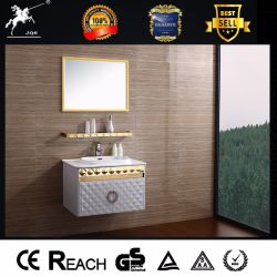 Golden White Fashion Stainless Steel Bathroom Vanity With Shelf (081)