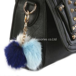 Faux Fur Pompom Bag Accessory Multi Color Key Chain