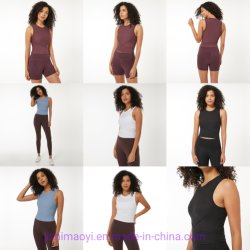 Wholesale OEM Yoga Sleeveless Top with Built-in Bra Athletic Apparel Jogging Sport Gym Fitness Active Wear Clothing Woman Work out