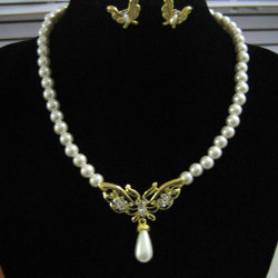 Pearl Jewelry Necklace Fashion Freshwater Pearl Neckalce with Rhienstones (Xpk-Js-055)
