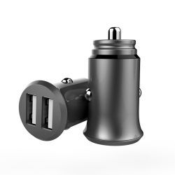 Slim Aluminum shell High-end Smart 2.4A USB Car charger, mobile phone charger