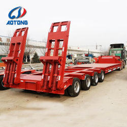 Tri Axles Gooseneck 13meters Excavator Low Bed Semi Trailer