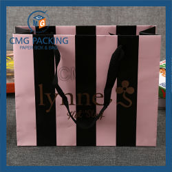 Offset Printing Paper Hand Bag with Silk Ribbon
