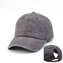 60b3ecae5 Custom Blank Washed Cotton Baseball Cap Sport Hats Ponytail Cap with Women  Horsetail Hole for Promotion