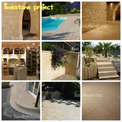 Haobo Stone Factory Direct Sale of Tumbled Light Beige Limestone Tiles