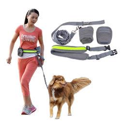 Elastic Reflective Waist Belt Hands Free Dog Leash with Pouch Waist Bags