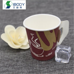 Wholesale Price Price Take Away Single Wall Disposable Paper Cup 9oz with Handle and Printing Logo