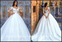 V Neckline Bridal Dress Lace Tulle 3 4 Sleeves Plus Size Wedding Dresses F60