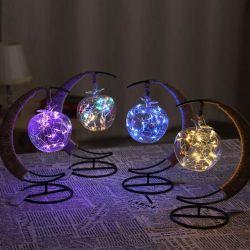 LED Decorative Lights Handmade Hemp Rope Copper Wire Lights Apple Glass Modeling Lights Romantic Christmas Iron USB Night Light
