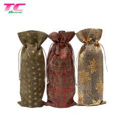 Custom Wine Bottle Package Tube Drawstring Pouch Bag