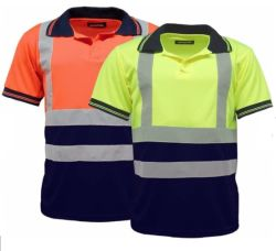 Men's Polo Shirts Hi Vis High Viz Visibility Short Sleeve Safety Work-Wear Shirt