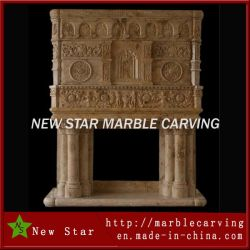 Marble Sculpture Stone Fireplace Surround Fireplace Mantel