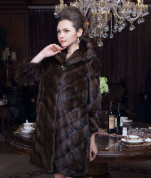 2015 Europe Style Winter Women Real Mink Fur Coat