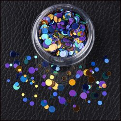 Colorful Round Mixed Size Nail Glitter Sequins, Manicure Decoration Flakes