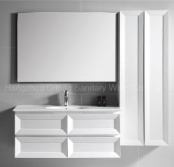 PVC Painting Bathroom Cabinet With Ceramic Basin And Side Cabinet