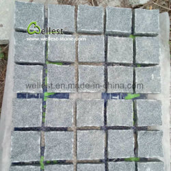 G654 Sesame Black Meshed Granite Paving Stone Cobblestone