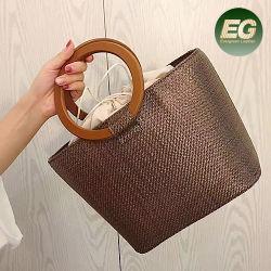 45f6e09a1dd05f 2020 Quality Nature Beach Rattan Bag Genuine Real Leather Women Straw Bags  Summer Fashion Raw Wooden