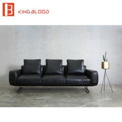 Italian Style Top Black Nappa Genuine Leather Sofa For Living Room