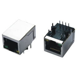 100 Base 1X1 Tab-Down RJ45 with Transformer Yellow Color