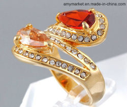 Shiny Water Drop Gem Diamante Simulation Jewelry Ring 18K Gold Color J00116