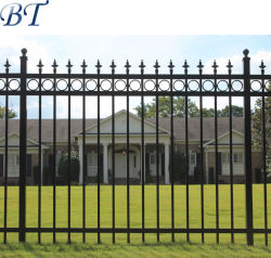 Ornamental Black Powder Coated Galvanized Steel Wrought Iron Garden Fence