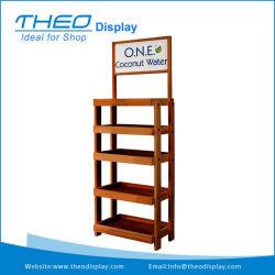 4 Tiers Wooden Beer Display Rack Beverage Display Stand