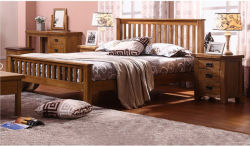 Rustic Vintage Oak Solid Wood Single Double King Queen Size Bed