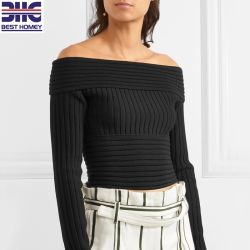 268ee6d5f9444b Women's Black off Shoulder Top Ribbed Pure Merino Wool Knitted Pullover  Cropped Sweater for Ladies