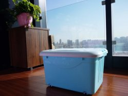 Large Household Wheeled Clear Plastic Storage Boxes with Wheels and Lids